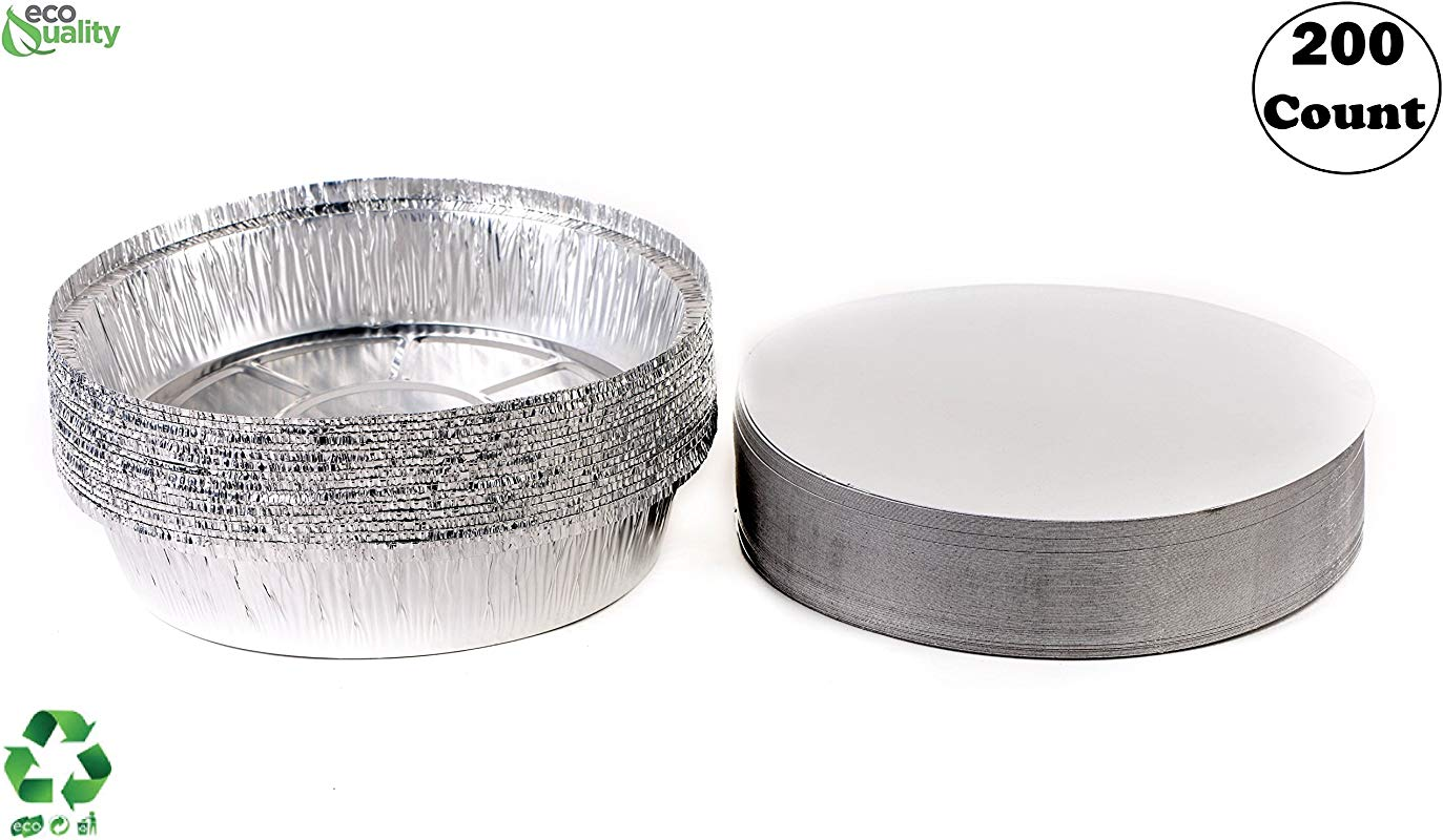 200 Pack 7 Inch Disposable Round Aluminum Foil Take Out Pans With Board Lids Set Disposable Tin Containers Perfect For Baking Cooking Catering Parties Restaurants By EcoQuality