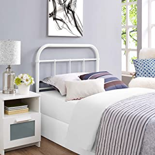 Modway Serena Rustic Farmhouse Style Steel Metal Twin Headboard Size in White,