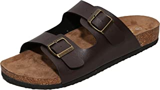 WTW Men's Arizona 2-Strap PU Leather Platform Sandals, Slid-on Cork Footbed Sandals with Double Metal Adjustable Buckles, Causal Style