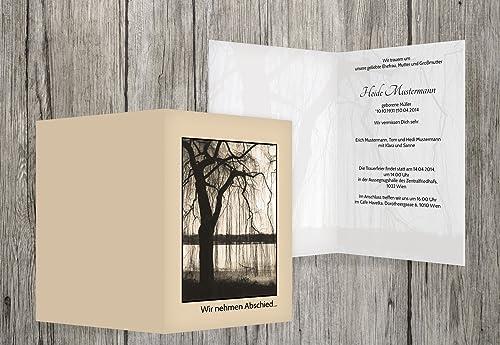 hermoso Tarjeta de luto luto luto árbol, beige, 100 Karten  autorización