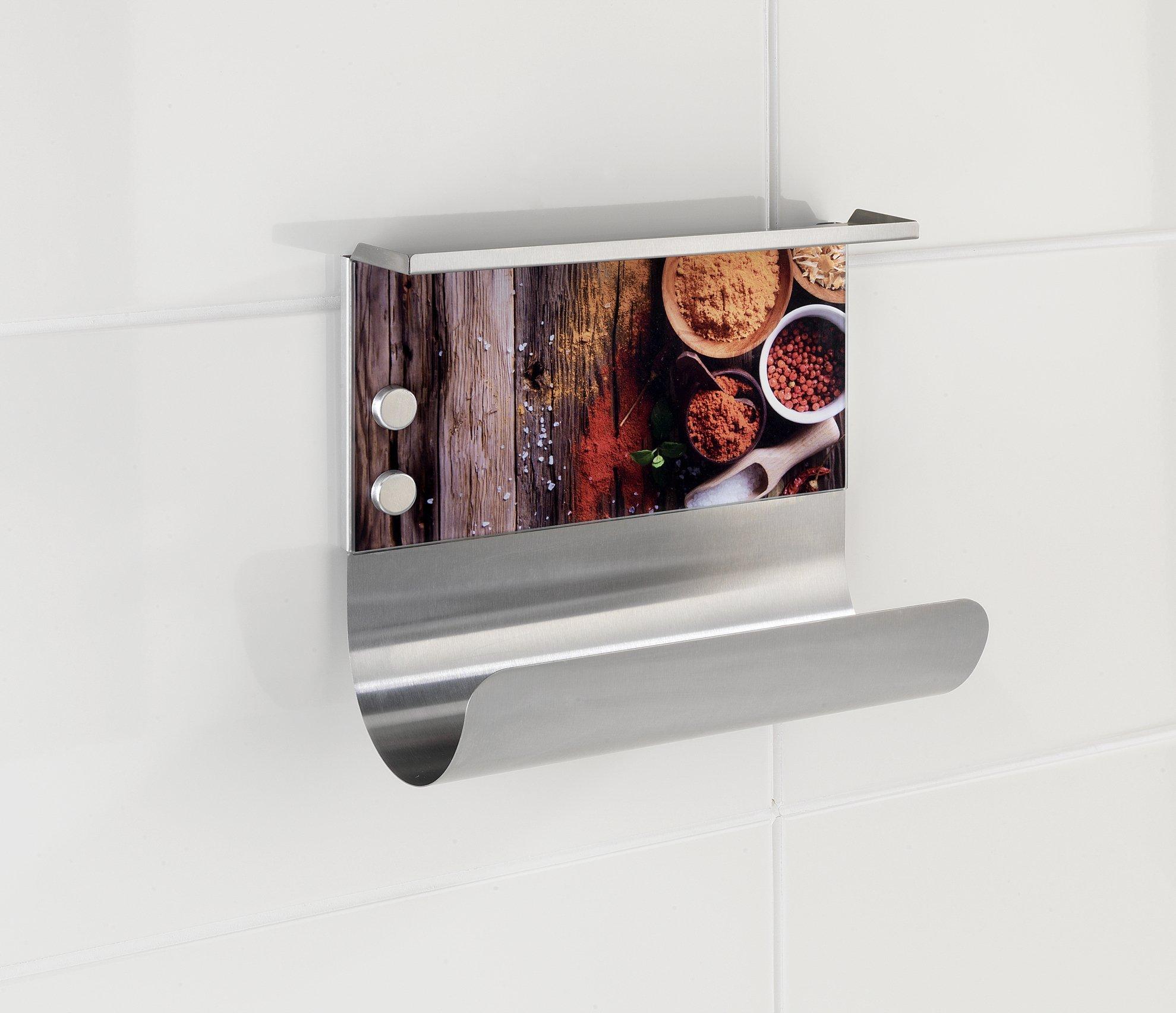 14.5x30x26 cm Wenko Portarrollos Magn/ético Especias Vidrio Endurecido Multicolor