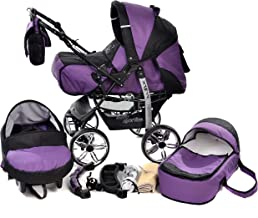 Kamil, Classic 3-in-1 Travel System with 4 STATIC (FIXED) WHEELS incl. Baby Pram, Car Seat, Pushchair & Accessories (3-in-1 Travel System, Violet & Black)