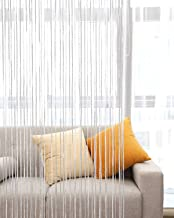 Lewondr Door String Curtain, Glitter Silver Thread Ribbon Fringe Doorway Dense String Curtain Window Blinds Panel Room Divider for Home Party Wedding 39x79 Inch(100x200 cm) - White