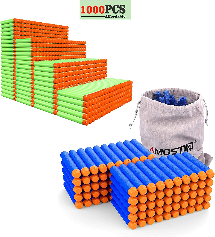 AMOSTING Refill Darts 100PCS + 1000Pcs White Refill Darts for Ne
