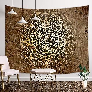 Mandala Bohemian Tapestry Wall Hanging, Native Aztec Calendar Mayan Luck Sign in Vintage..
