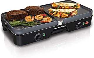 Hamilton Beach 3-in-1 Electric Indoor Grill + Griddle, 8-Serving, Reversible Nonstick..