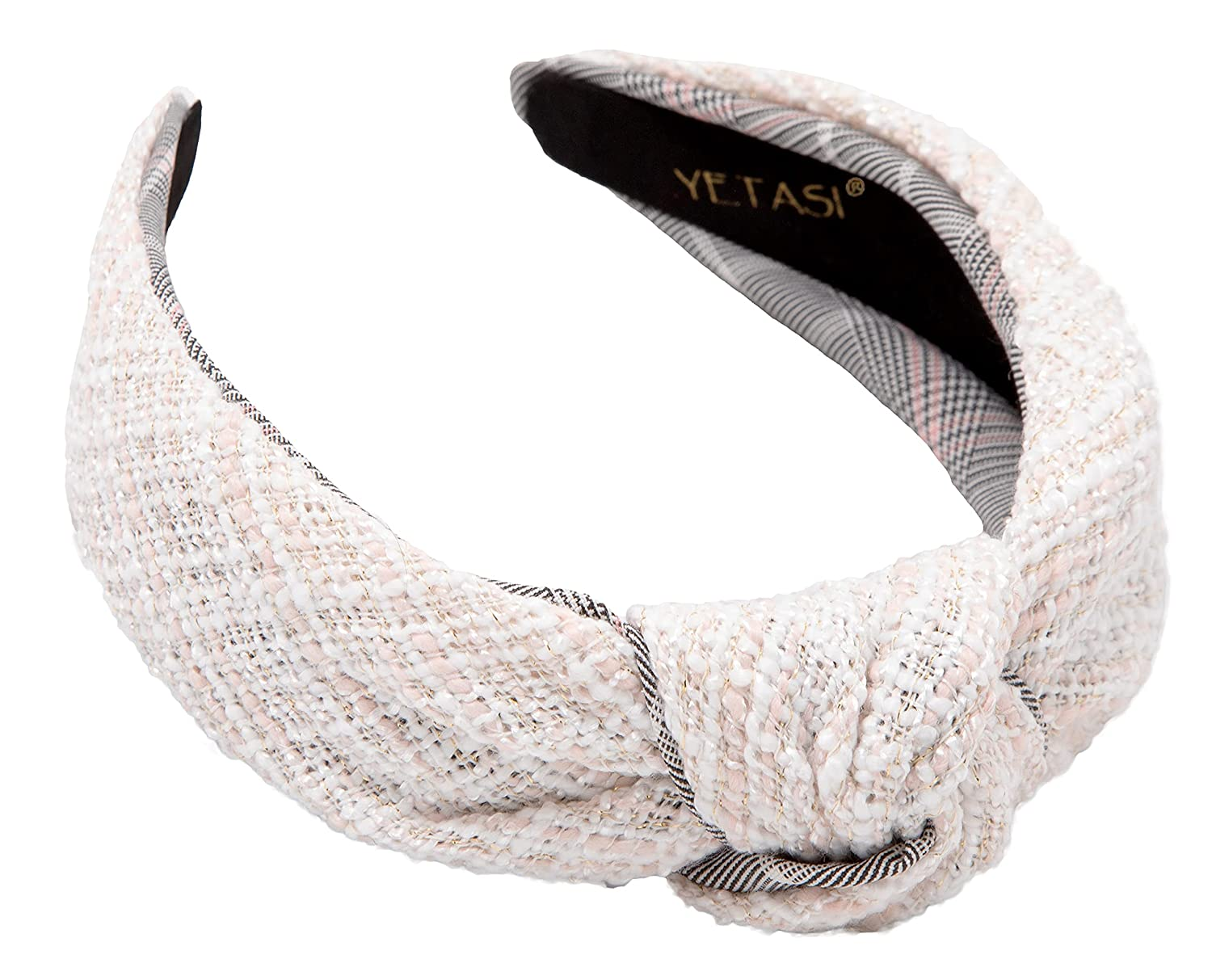 Knotted Headband for Women Go with Everything . Cute OFF White Headband Women Gets Many Compliments. OFF White Top Knot Headband for Women Fashion is Adjustable. Well Made Tweed White head band