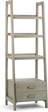 Simpli Home Sawhorse SOLID WOOD 72 inch x 24 inch Modern Industrial Ladder Shelf with Storage in Distressed Grey with 2 Drawers and 4 Shelves, for the Living Room, Study and Office