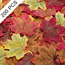 Coolrunner Artificial Maple Leaves Multi-Color Mixed Fake Fall Maple Leaves Autumn Leaf for Wedding Decorations Halloween Party Thanksgiving Day Table Decor (200PCS(4 Colors Assort))