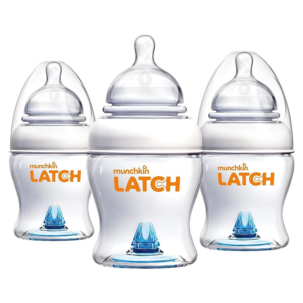 Munchkin Latch Anti-Colic Baby Bottle with Ultra Flexible Breast-like Nipple, BPA Free, 4 Ounce, 3 Pack