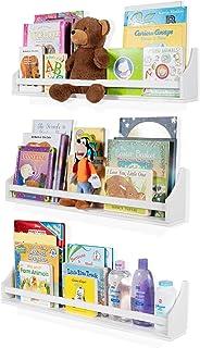 قفسه های دیواری دکوراسیون مهد کودک - مجموعه 3 قفسه - قفسه های شناور شناور برای قالب کودک و اتاق کودک ، قالب بلند تاج سفید ، اتاق نگهدارنده کتاب ، نگهدارنده نمایشگر برای اسباب بازی ها ، سی دی ، مانیتور کودک