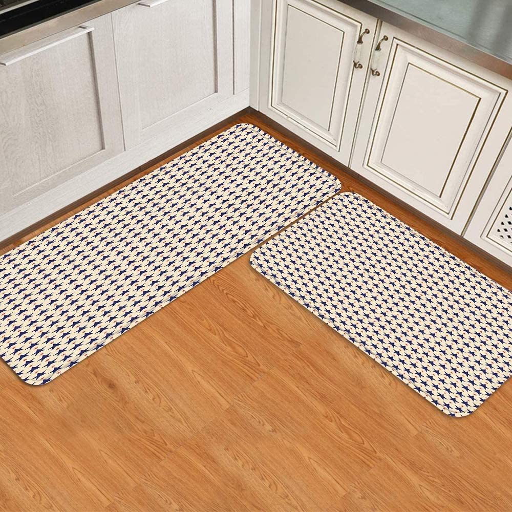 KENADVI Anti Fatigue Kitchen Mat Set Max 4 years warranty 48% OFF Themed Patte of Patriotic 2