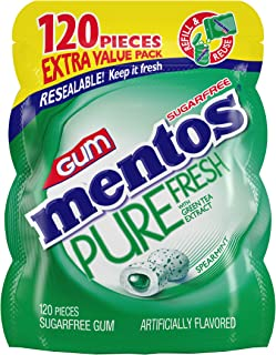 Mentos Pure Fresh Sugar-Free Chewing Gum with Xylitol, Spearmint, 120 Piece Bulk Resealable Bag, 120 Count (Pack of 1)