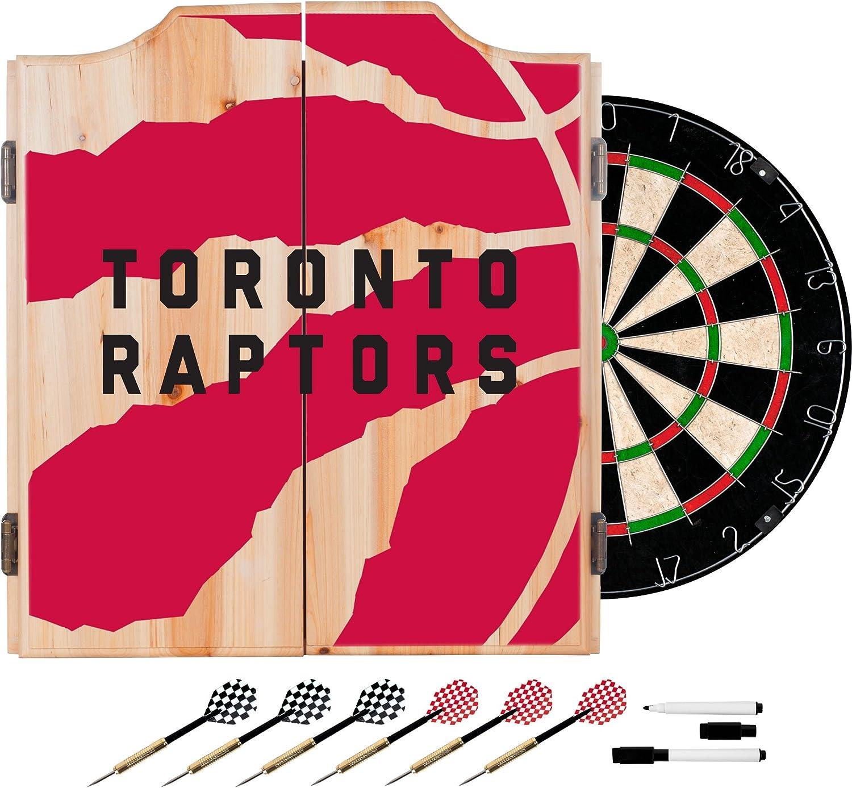 Trademark Global NBA Dart Cabinet Set with Darts and Board  Fade  Tgoldnto Raptors NBA7010TR2