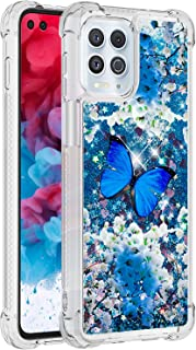 SUNSON Case for Moto Edge S, Sparkle Liquid Champagne Quicksand Series Glitter Bling Flowing Floating Soft TPU Clear Bumpe...