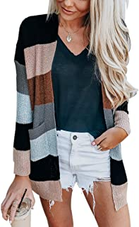 ECOWISH Womens Color Block Striped Draped Kimono Cardigan Long Sleeve Open Front Casual Knit Sweaters Coat Soft Outwear