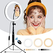Desktop LED Ring Light 10'' with Adjustable Tripod Stand and Phone Holder, TBJSM Dimmable Selfie Ring Light for Makeup, TikTok, Live Streaming and YouTube Video Shooting