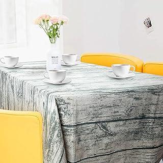 ZWOOS Mantel Mesa Rectangular, Mantel Rectangular Vintage de Madera de Grano de Lino Mantel Encerado Lavable Mantel Antimanchas Mantel a Prueba de Polvo para Interiores y Exteriores, 220 x 140cm