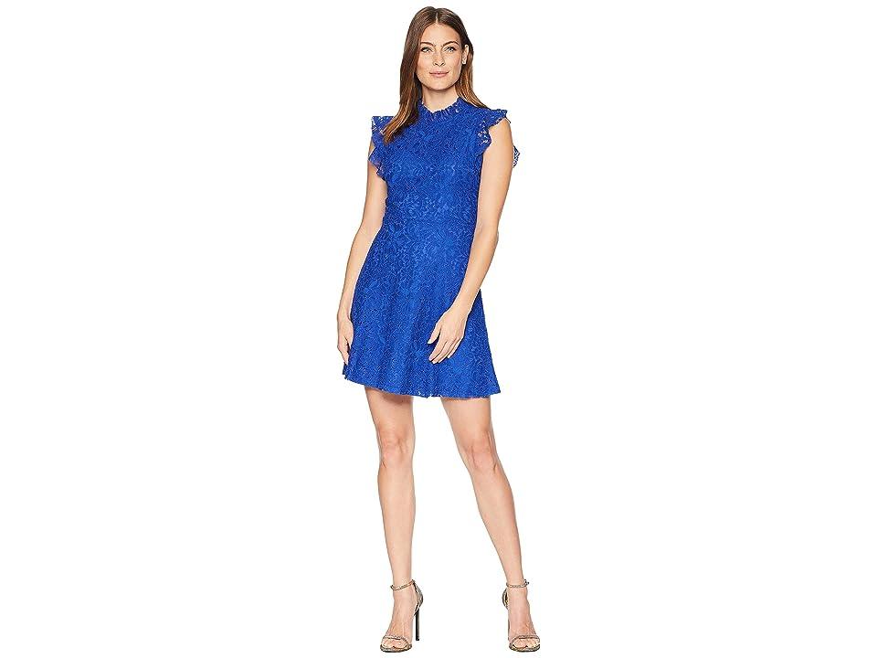 ALEXIA ADMOR Ruffle Sleeve Fit Flare Lace Dress (Blue Mazarine) Women