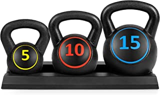 Best Choice Products 3-Piece HDPE Kettlebell Exercise Fitness Weight Set w/ 5lb, 10lb, 15lb Weights, Base Rack - Black