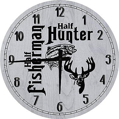 OSG Fishing Wall Clock Half Fisherman Hunter Fishing Hunting Wall Clock Bar Sign Large Gray 18 in Round Wall Clock for Men