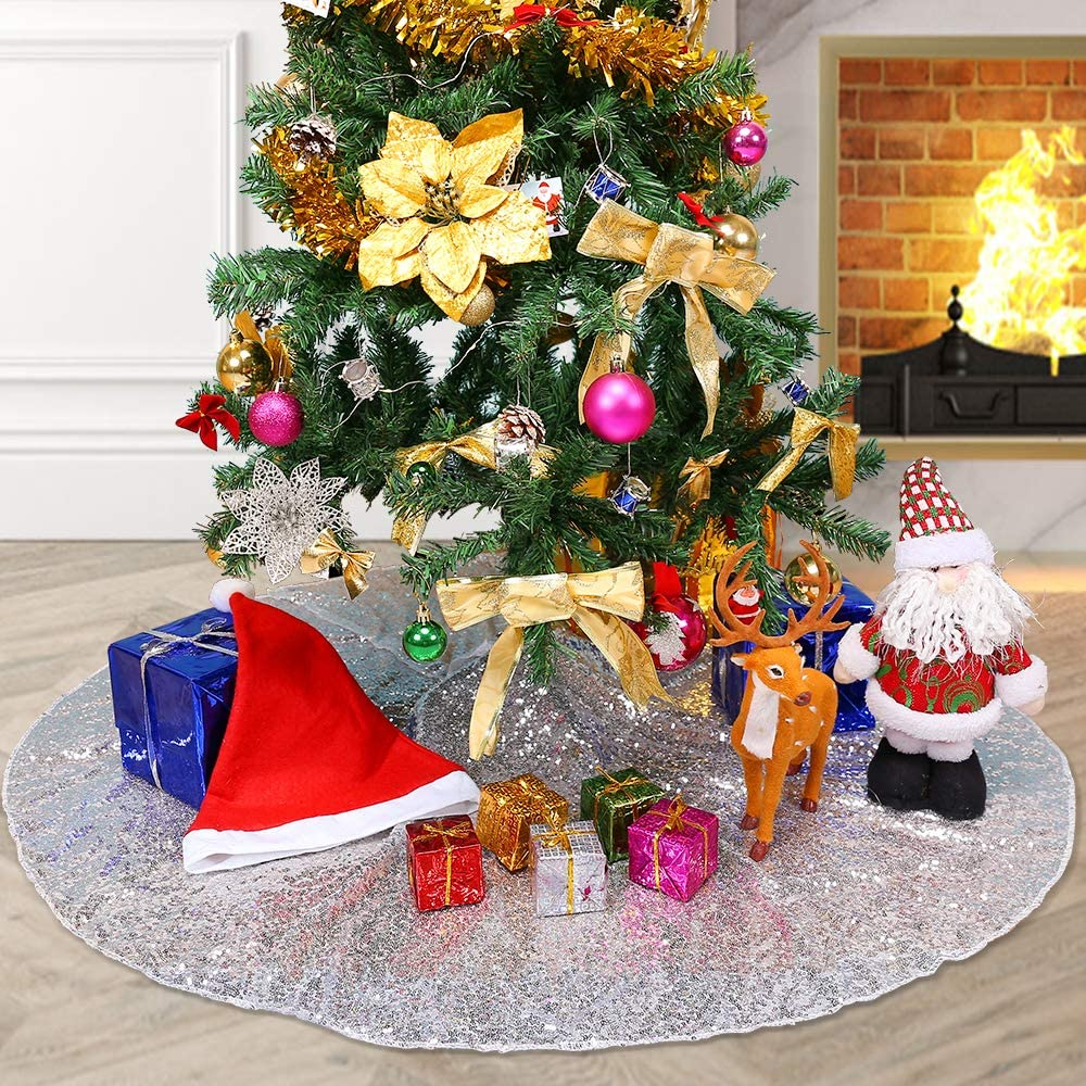 YZEO Gold Christmas Tree Skirt 50 Xmas Tree Skirt Christmas Decorations Sequin Tree Skirt Sparkly for Home Holiday