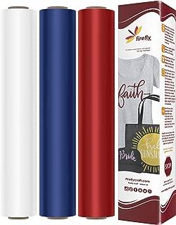 Firefly Craft Heat Transfer Vinyl Bundle | America HTV Vinyl Bundle | Iron On Vinyl for Cricut andSilhouette | 3 Rolls Including Our Best Selling White HTV and Black HTV - 12