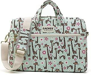 DACHEE Green Giraffe Pattern 15 inch Canvas Waterproof Laptop Shoulder Messenger Bag for 14 inch to15.6 inch Laptop 15 Laptop Case