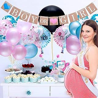 مجموعة لوازم الحفلات والاحتفال بالمولود الجديد للصبيان والفتيات - 64 قطعة