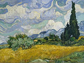 Wheat Field with Cypresses by Vincent Van Gogh Tile Mural Kitchen Bathroom Wall Backsplash Behind Stove Range Sink Splashback 4x3 6