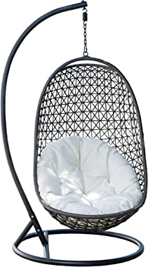 Abbyson Living Bohemian Indoor/Outdoor All-Weather Wicker Swing Chair, Grey