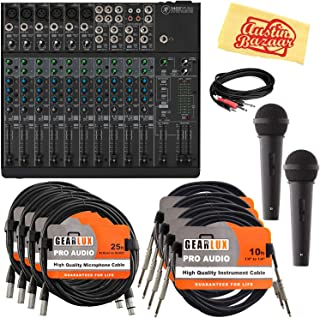 Mackie 1402VLZ4 14-Channel Compact Mixer Bundle with Microphone, XLR Cables, Instrument Cables, Stereo Breakout Cable, and Austin Bazaar Polishing Cloth
