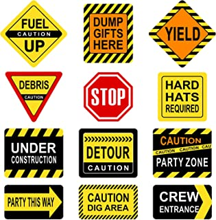 Construction Themed Party Decorations, 10 - 11.8 Inch Laminated Caution Traffic Signs, Construction Theme Party Signs, Paper Cutouts with 40 Glue Point Dots (12 Pieces Construction Signs)