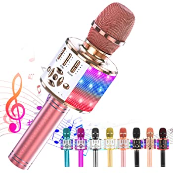 Ankuka Karaoke Microphone for Kids, Fun Toys for Girls and Boys, Portable Wireless 4 in 1 Bluetooth Karaoke Microphone with LED Lights, Gift Speaker Machine Christmas Birthday Smartphone(Rose Gold)