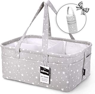 StarHug Baby Diaper Caddy Organizer - Baby Shower Basket | Large Nursery Storage Bin for Changing Table | Car Travel Tote Bag | Newborn Registry Must Have | Bonus Bottle Cooler