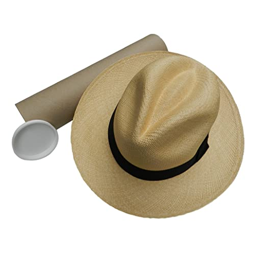 c146cbfe996 Equal Earth New Genuine Panama Hat Rolling Folding Quality with Travel Tube  - Natural