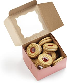 """[50Pack] Pink Bakery Boxes with Window 4x4x2.5"""" - By Cuisiner"""