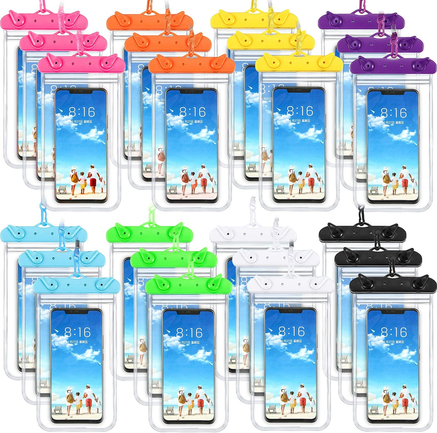 24 Pieces Universal Waterproof Phone Pouch Underwater Clear Phone Case Cellphone Dry Bag Pouch with Lanyard Outdoor Beach Swimming Snorkeling for Smartphone up to 6.9 Inch (Assorted Color)