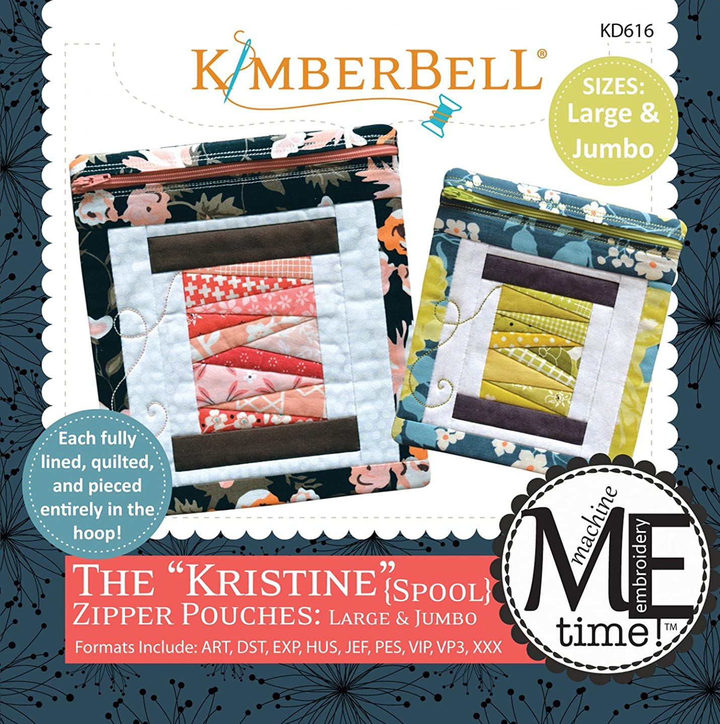 Kimberbell Designs The Kristine Zipper Pouches Spool Large and Jumbo with Embroidery CD KD616