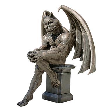 Design Toscano DB383050 Socrates The Gargoyle Thinker Outdoor Garden Statue, 23 Inch, Two Tone Stone