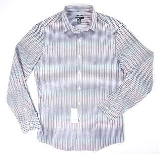 Men's Slim-Fit Stretch Coral Blue Gingham Dress Shirt