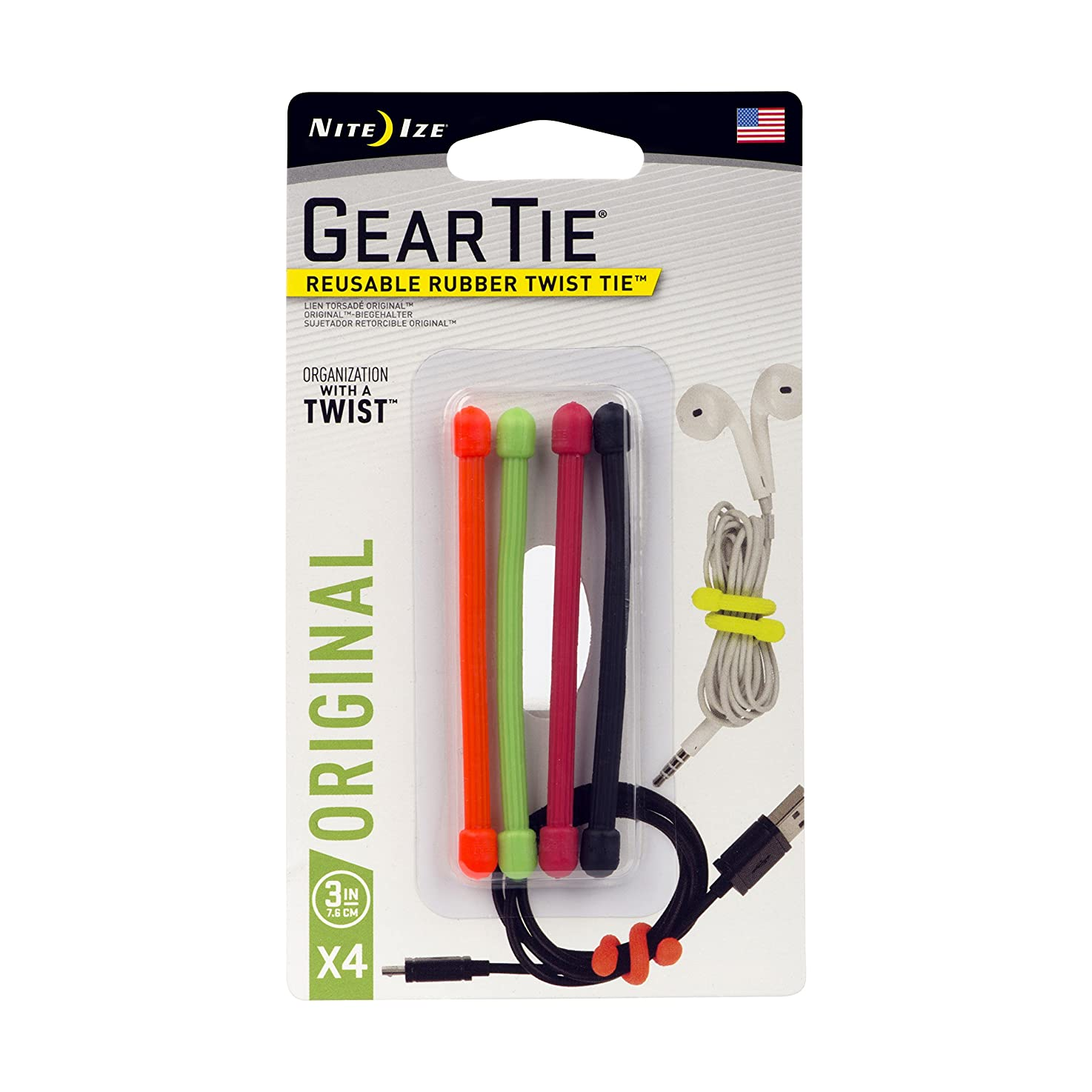 Nite Ize Original Gear Tie, Reusable Rubber Twist Tie, 3-Inch, Assorted Colors, 4 Pack, Made in the USA nnthvfruwxbhg8