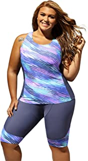 Women's Retro Oceanic Stripes Two Piece Plus Size Tankini Swimsuit