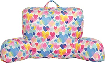 iscream Pastel Hearts Silky Soft Plush Lounge and Reading Bed Support Pillow