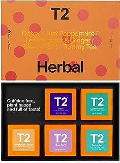 T2 Tea Five Herbal- 5 Mini Gift Cubes of Classic Loose Leaf in Gift Pack, herbal tea, 3.4 Ounce
