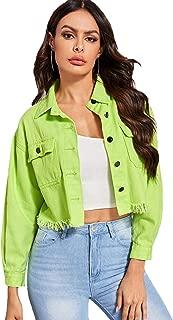 Floerns Women's Long Sleeve Ripped Crop Denim Jacket