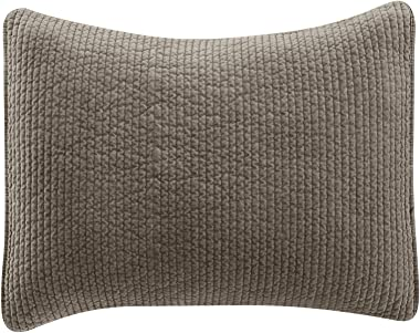 HiEnd Accents Stone Wash Cotton Quilted Velvet Pillow Sham Cover, King, Taupe