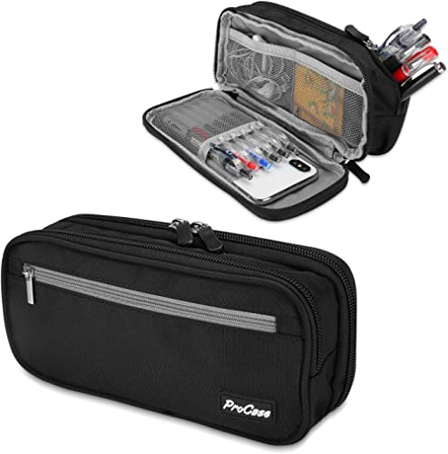 Pencil Case Pen Bag, ProCase Two Layers Big Capacity Pencil Pouch Pen Organizer Durable Stationery Holder for Marker ...