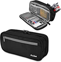 ProCase Big Capacity Pencil Case, Double-Layer Pouch Stationery Holder Storage Organizer with Double Zipper for School Students and Office Clerks -Black