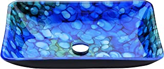 ANZZI Voce Rectangular Tempered Deco Glass Vessel Bathroom Sink in Lustrous Blue | Top Mount Toilet Sinks Above Counter | Square Vanity Countertop Sink Bowl with Pop Up Drain | LS-AZ040